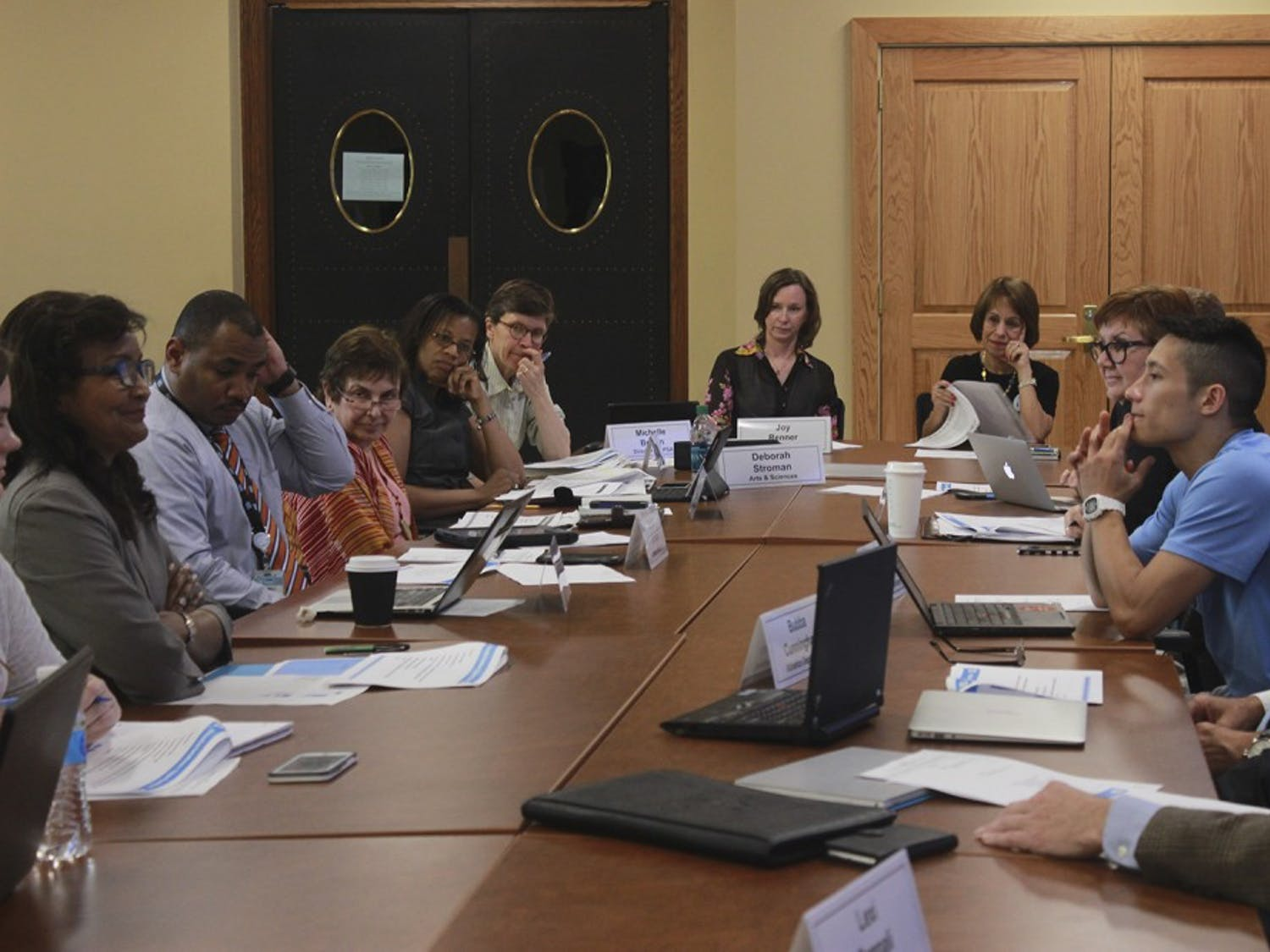 The Faculty Athletics Committee met Tuesday afternoon in a Wilson Library meeting room.