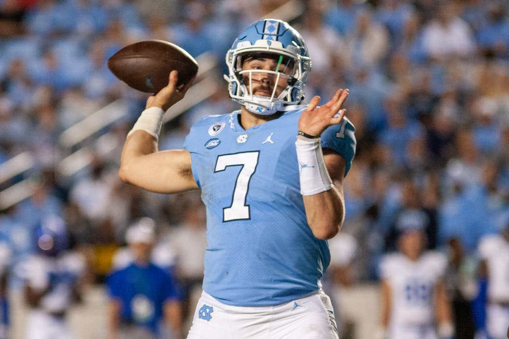 UNC junior quarterback Sam Howell (7) throws the ball at the game against Georgia State on Sept. 11 at Kenan Stadium. UNC won 59-17.