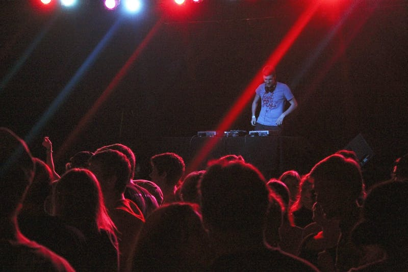 Student deejay Sam Schaefer was featured at WXYC's semi-annual 90s dance party hosted by Cat's Cradle on Friday.