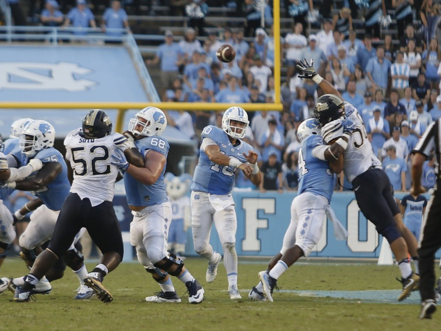 UNC quarterback Mitch Trubisky throws a pass against Pittsburgh on September 24th.