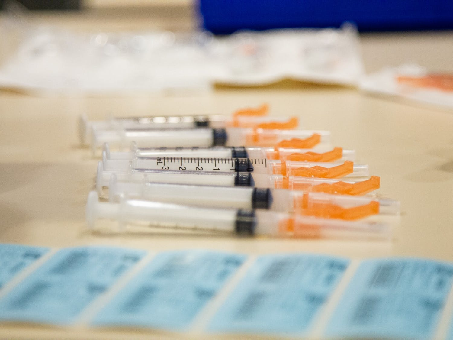 Empty syringes wait to be prepared with a dose of the COVID-19 vaccine on Thursday, Jan. 21, 2021 in the Friday Center in Chapel Hill.