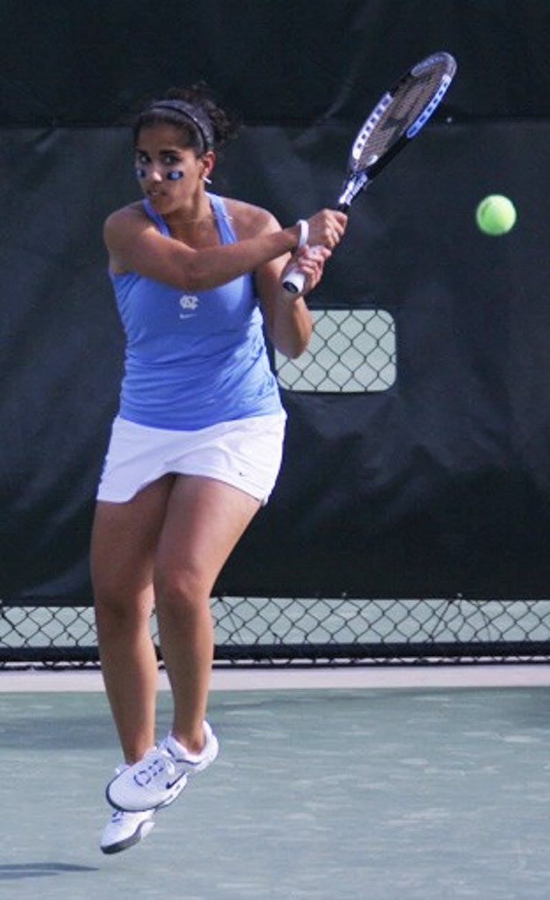 Sanaz Marand, UNC's No. 1 singles player, propelled the Tar Heels to a win against Duke. DTH/ Lauren Vied