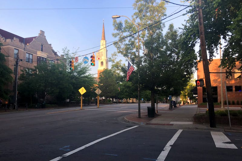 An empty Franklin Street on Monday, May 18, 2020. With the new petition, Franklin Street may see a return of people and life without breaking social distancing orders.