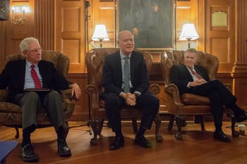 Former White House Special Assistant to the President and National Security Council Member Bob Kyle talks about his experiences working on Capitol Hill at the Corridors of Power talk on Tuesday Nov 19 at the UNC Chapel Hill Moreheard Lounge. He is joined by Former US Ambassador to Turkey and Director General of the Foreign Service Robert Pearson (left) and CNN television commentator and former White House Counsel to President Clinton (right).