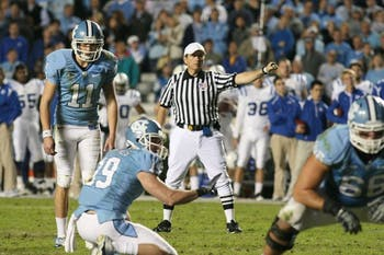 Casey Barth, North Carolina's sophomore kicker, has made nine straight field goals. DTH/Phong Dinh