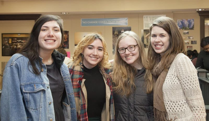 Speak Out Protest organizers Frances Cayton, Bethany Vance, Cara Price and Savannah Wooten posed in the Campus Y after their protest.