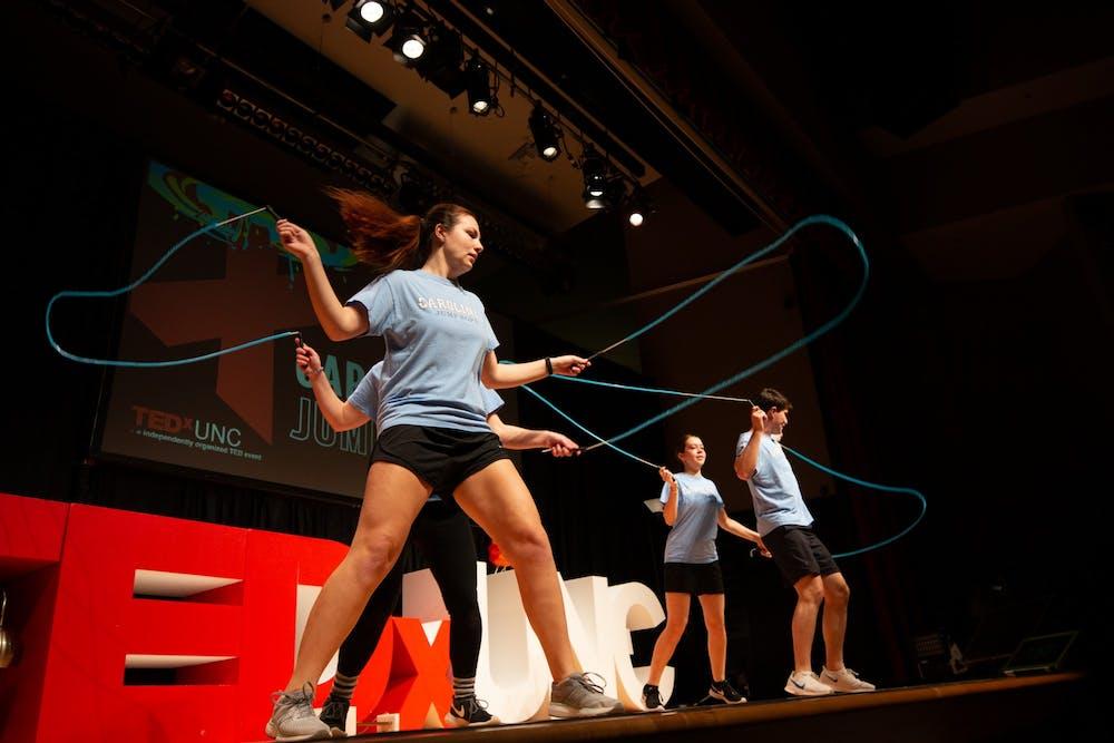 Members of UNC's Jump Rope Club performed at TEDxUNC on Saturday, Feb. 15, 2020.