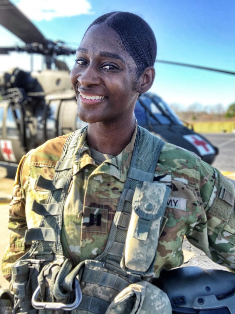 Captain Lindsey Jefferies poses for a portrait on Sunday, Jan. 12, 2020. She is the first Black female Black Hawk pilot in the N.C. National Guard. Photo courtesy of Lindsey Jefferies.