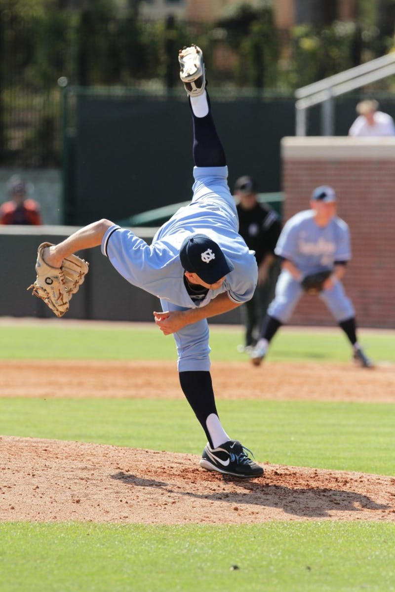 Pitcher  R.C. Orlan. The Tar Heels completed a three-game sweep of the Clemson Tigers with a 5-4 victory on April 3.