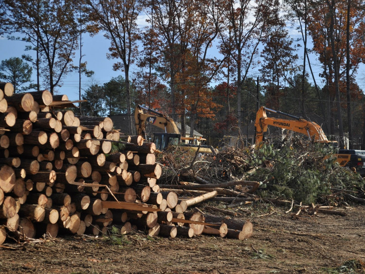 Construction is underway for a new residential development project located on Homestead Road on Sunday, Nov. 24, 2019. Plans of developing land near the intersection of Eubanks Road and Old NC 86 raised concerns from residents about how Duke Forest's research and natural sites would be affected.