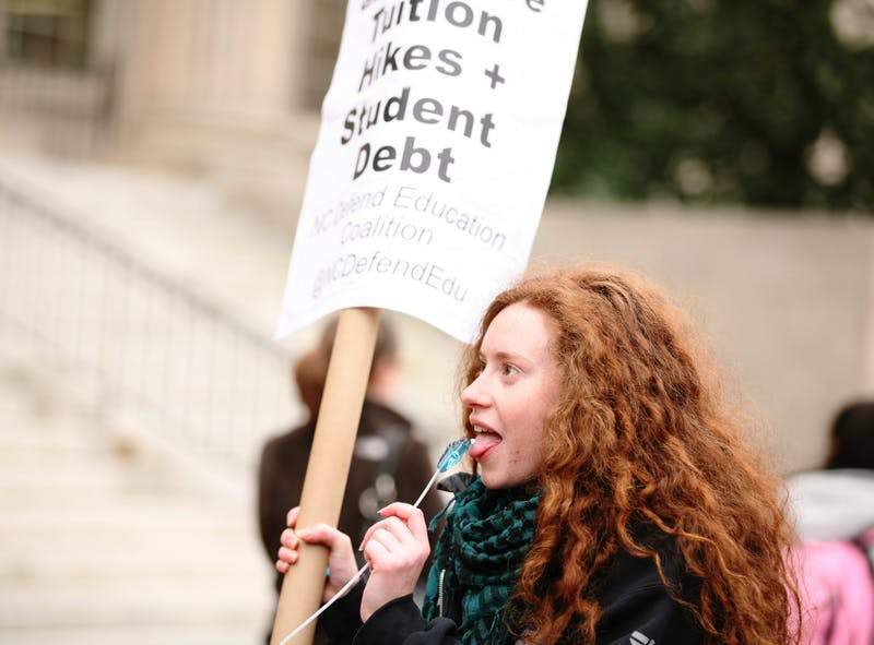 Students protest tuition hikes on Friday, Feb. 10