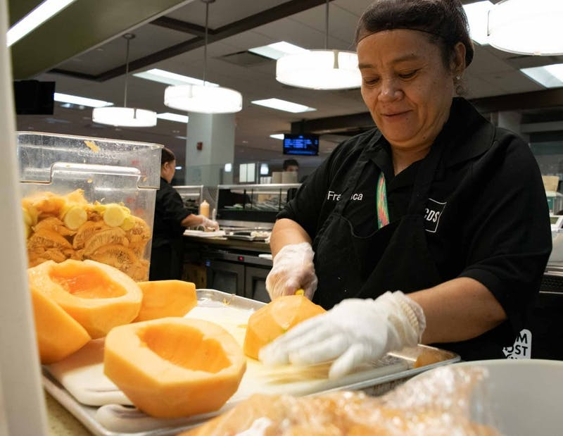 Francisca Ventura is in charge of cleaning and placing all the watermelons and melons in Lenoir Dining Hall, but her favorite part of her job is the students. She says that she has never had trouble with any student and she misses them when they graduate.