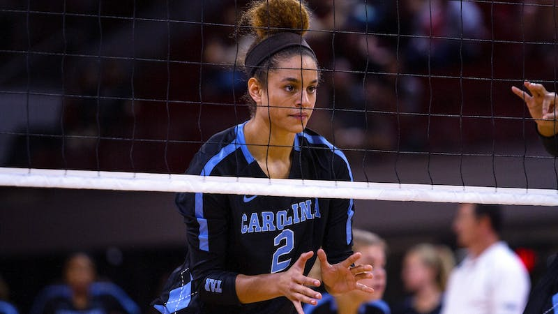 UNC sophomore volleyball player Carly Peck at a previous game. Photo courtesy of UNC Athletic Communications.