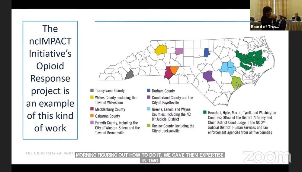 <p>Anita Brown-Graham discusses plans for Carolina Across 100, a new initiative, at the Board of Trustees meeting on Friday, March 25, 2021.</p>