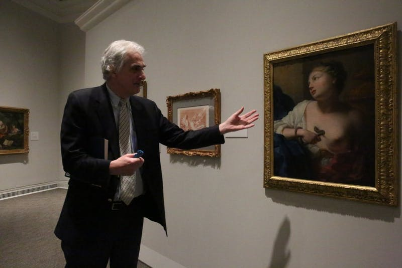 Peter Nisbet, Deputy Director of Curatorial Affairs at the Ackland Art Museum, discusses the meaning of a painting in the Becoming a Woman in the Age of Enlightenment exhibit.