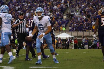 UNC first-year quarterback Cade Fortin holds the ball in his hand in a 41-19 loss to ECU in Greenville on Sept. 8.