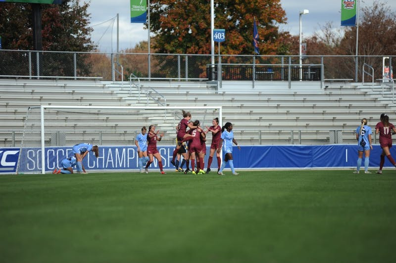 The Florida State Seminoles celebrate one of three goals scored against the Tar Heels' women's soccer team during the 2018 ACC Championship game on Sunday, Nov. 4.