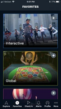 Arts everywhere app screenshot
