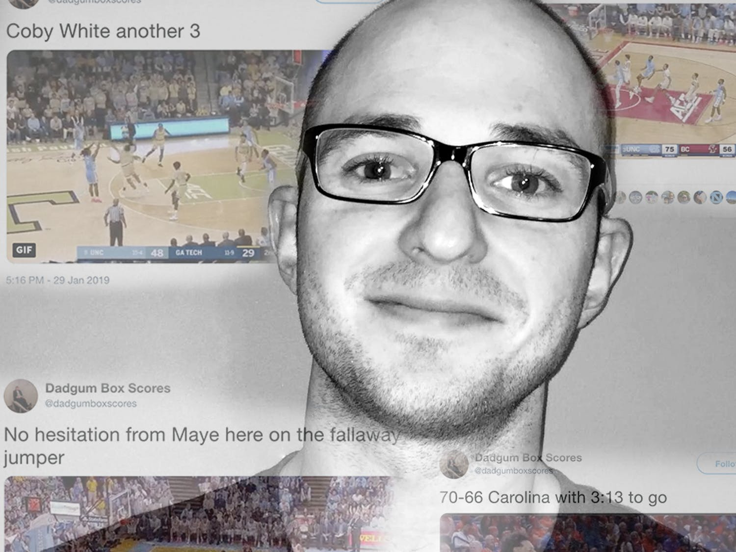 DTH Graphic/Haley Hodges; headshot courtesy of Chris Gallo; screenshots courtesy of @dadgumboxscores.