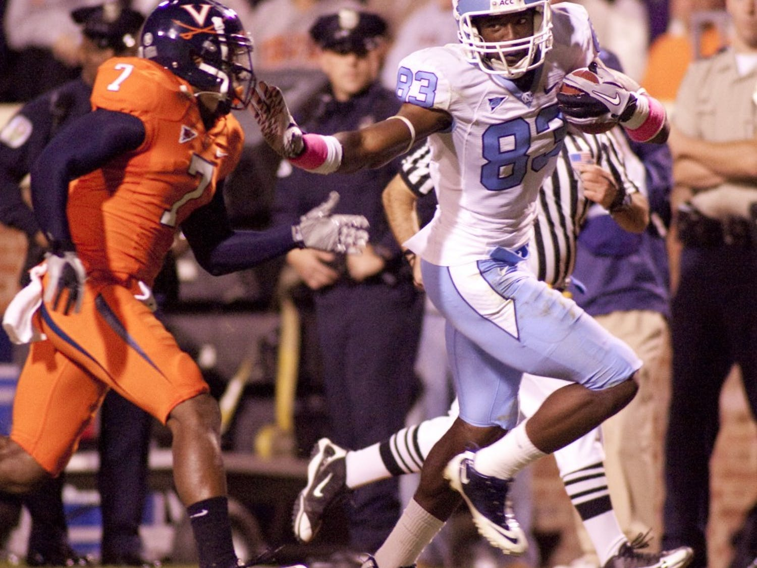 Junior wide receiver Dwight Jones has six receptions on 188 yards through the first half. Jones has scored two of UNC's three touchdowns.