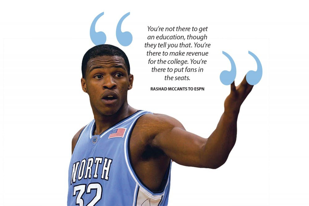 """<p>Last Friday, Rashad McCants — former UNC basketball player and a member of the 2005 national championship team — gave an interview with ESPN's """"Outside the Lines"""" and discussed his academic experience at UNC.</p>"""