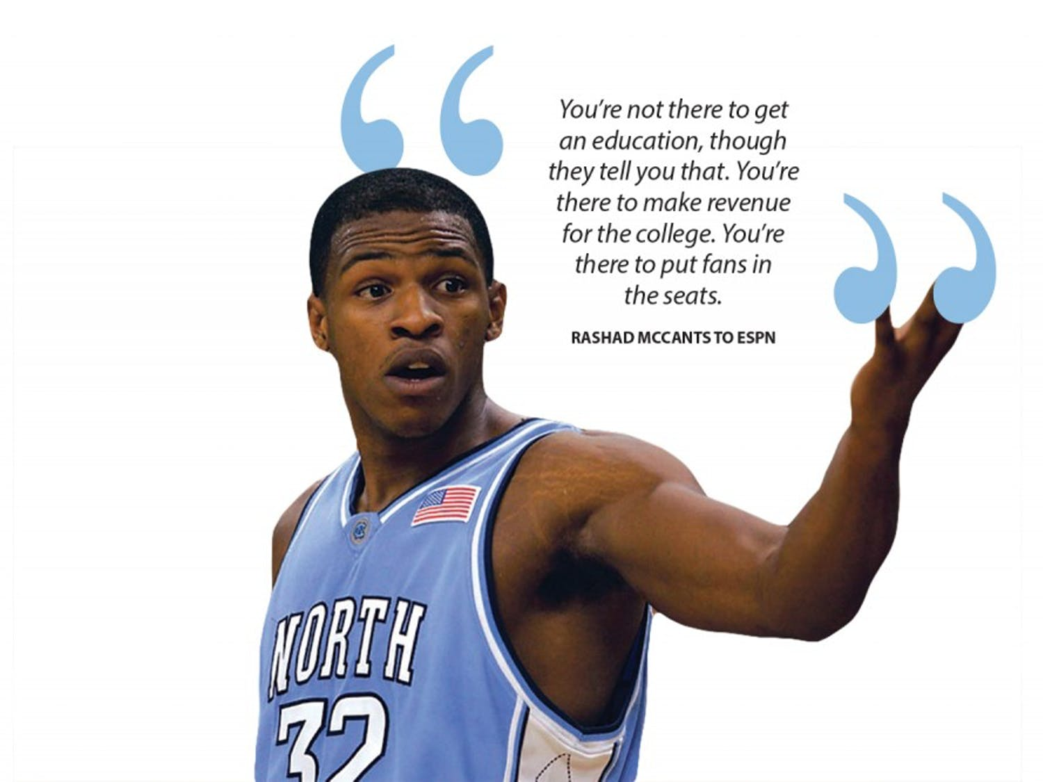 """Last Friday, Rashad McCants — former UNC basketball player and a member of the 2005 national championship team — gave an interview with ESPN's """"Outside the Lines"""" and discussed his academic experience at UNC."""