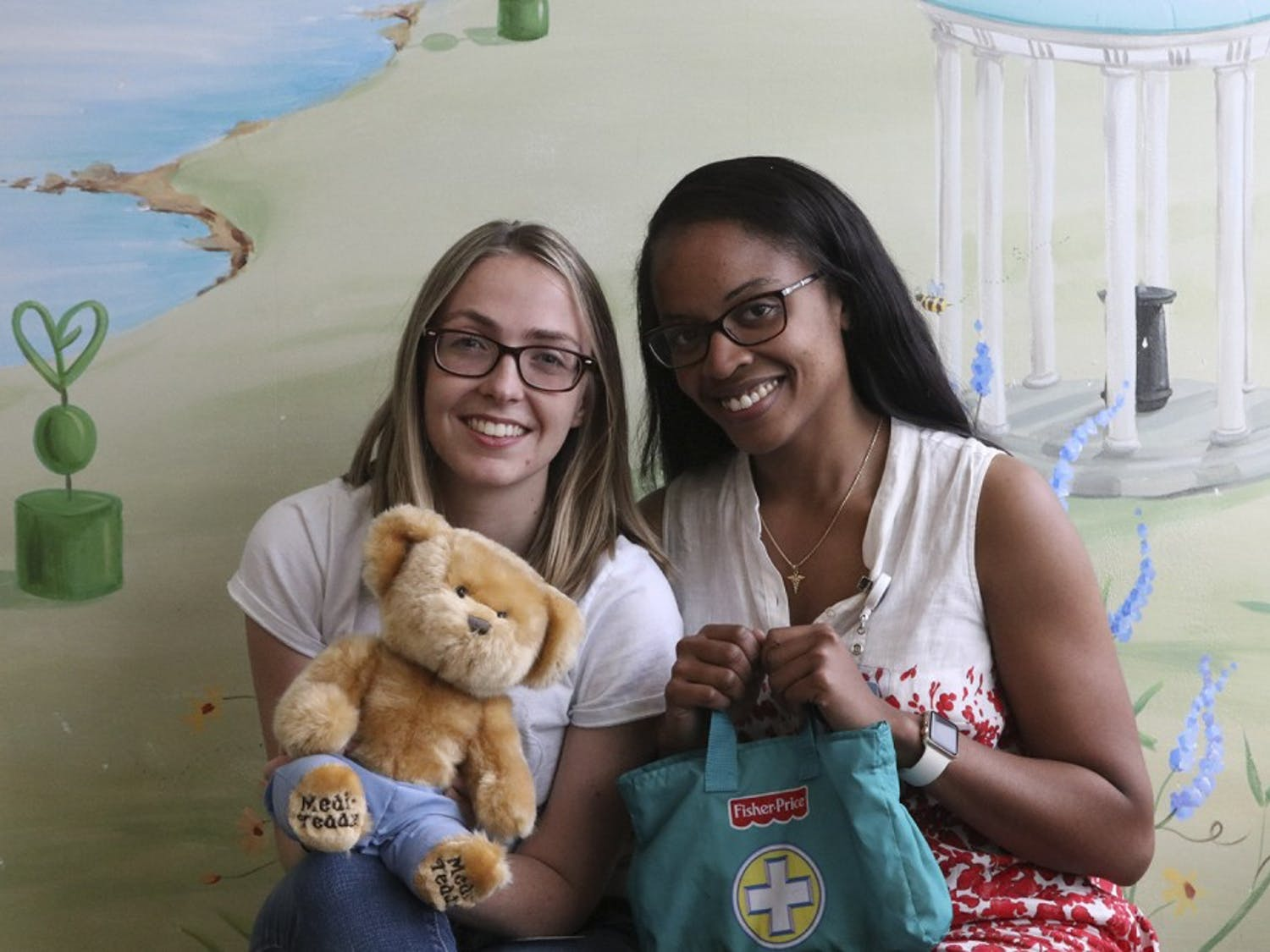 Medical students Charlotte Story (left) and Ashley Thrower started a fundraiser to buy more Medical Play Kits for children recently diagnosed with cancer.