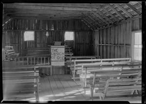 """The sinners will occupy the benches in the body of the church; the seats on the platform are for the Saints of Holiness."" Photo by Bayard Wootten."
