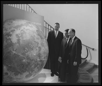 Morehead Planetarium: Astronauts in Press Conference, 10 June 1966. Photo courtesy of University Libraries.
