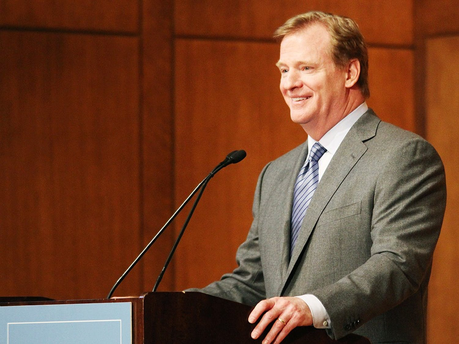 NFL commissioner Roger Goodell came to UNC's campus as a guest speaker at the 2013 Carl Blythe Lecture hosted by the the Department of Exercise and Sport Science. Goodell spoke about concussions and football safety before answering questions from the audience.