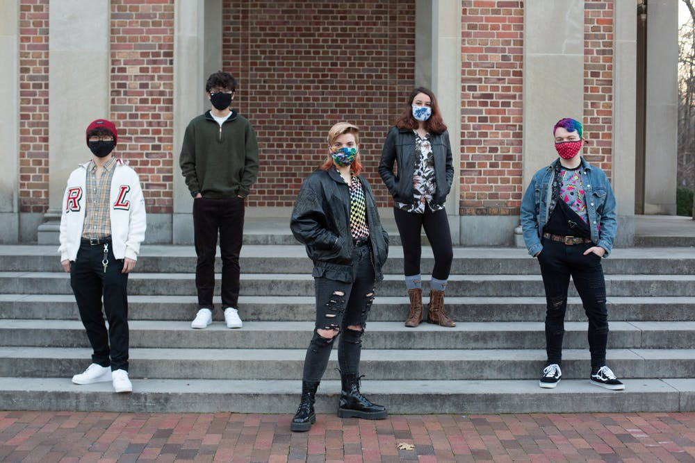 From left: Chris Seu, Isaac Williamson, Cecil May, Sarah Burtner, and Isaac Linn all pose for a portrait outside of the Bell Tower on Tuesday, Jan. 19, 2021.