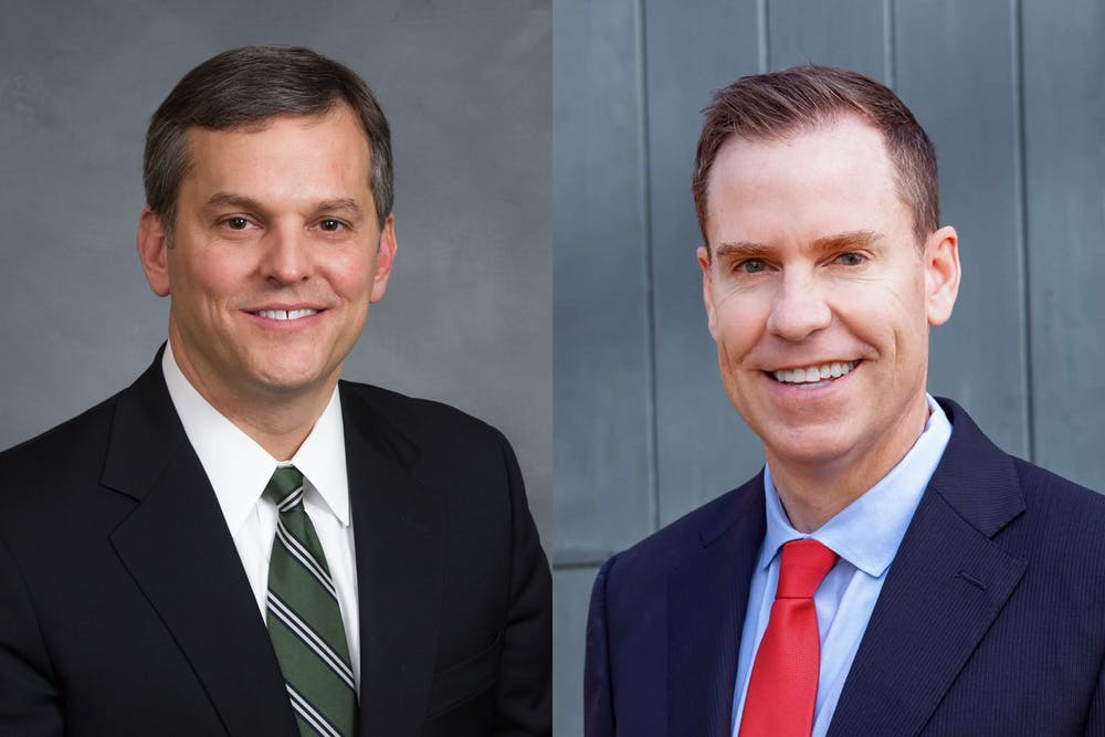 <p>Incumbent John Stein (left), Democrat and Jim O'Neill, Republican, are the candidates for North Carolina attorney general. Photos courtesy of O'Neill and Stein.</p>