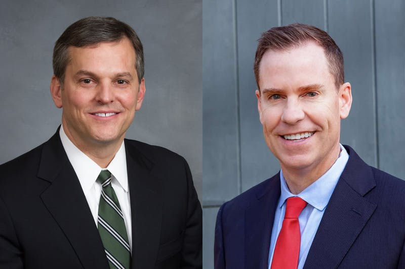 Incumbent John Stein (left), Democrat and Jim O'Neill, Republican, are the candidates for North Carolina attorney general. Photos courtesy of O'Neill and Stein.