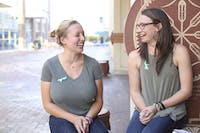 "Emma Johnson(left) and Hannah Petersen(right) were interviewed on their project ""Our Story"" event where survivors of sexual assault talk about their experiences."