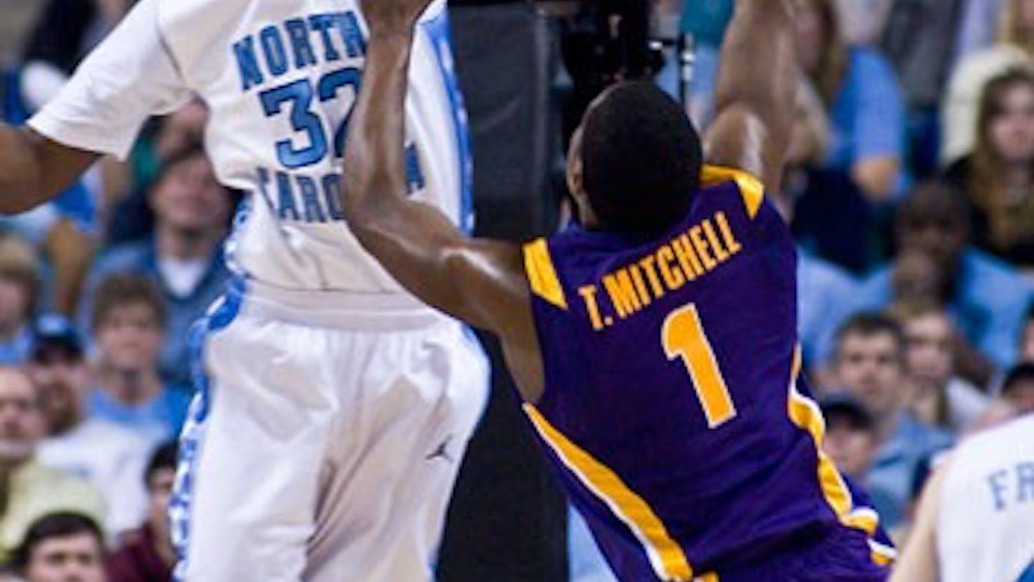 Ed Davis recorded two blocks in less than a minute ? both on shots from LSU forward Tasmin Mitchell ? in UNC?s Sunday matchup.