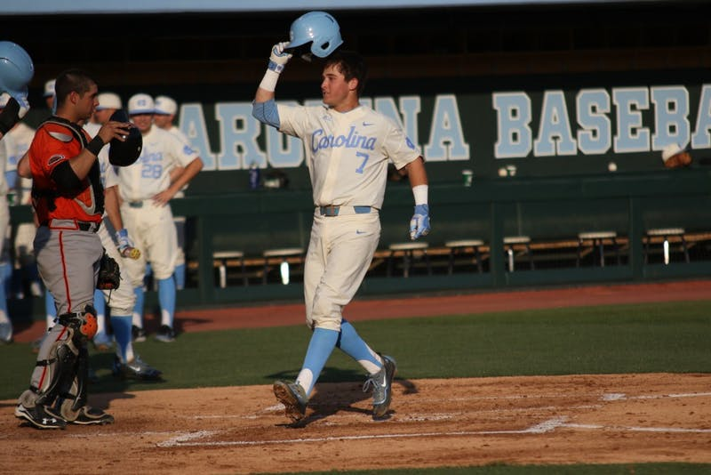 Infielder Logan Warmoth (7) celebrates his home run against Campbell University on Wednesday.