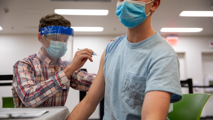 The first vaccine dose given at UNC's vaccination clinic is administered in the Student Union on March 31, 2021. As North Carolina began to allow college students to receive coronavirus vaccines, UNC opened a clinic on campus where students can receive the Johnson & Johnson vaccine.
