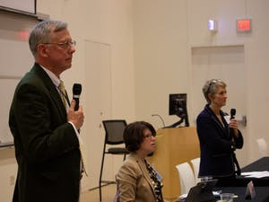 Secretary of the Faculty Vin Steponaitis, Faculty Chair Leslie Parise and Chair of the Committee Anne Klinefelter attend the meeting of the Faculty Council and the General Faculty in Genome Sciences Building on Friday, March 8, 2019.  Steponaitis and Klinefelter discussed resolutions at the meeting which sought to change the composition of fixed term faculty,  the composition and charge of the Administrative Board of the Library and the procedure for passing resolutions of the General Faculty.