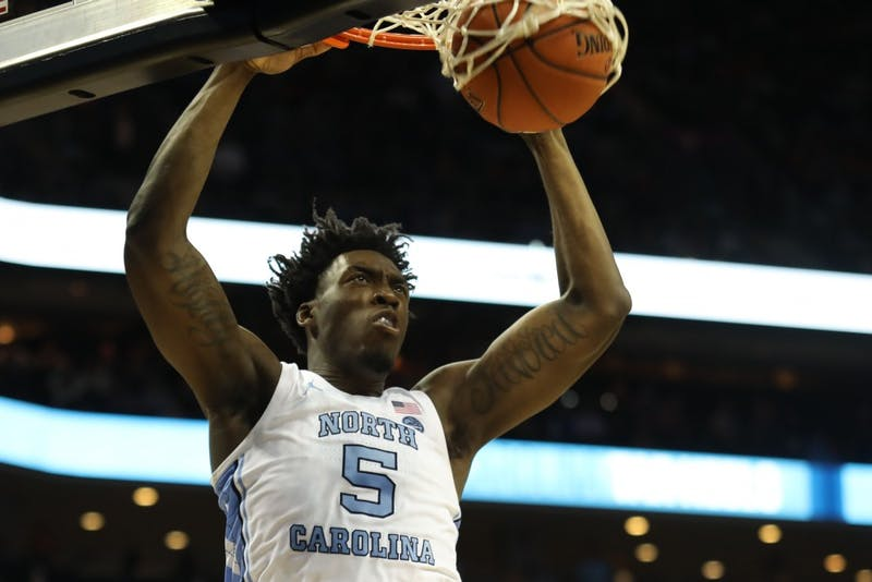 First-year forward Nassir Little (5) dunks against Duke during the semifinals of the ACC Tournament at the Spectrum Center in Charlotte, N.C. on Friday, March 15, 2019. UNC fell to Duke 73-74.
