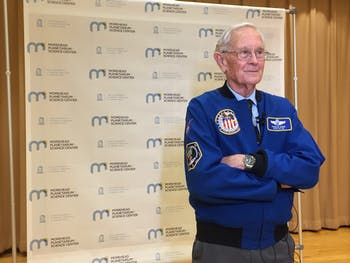 Astronaut Charlie Duke poses before a lecture at Morehead Planetarium celebrating the 50th anniversary of Apollo 11. Photo by Maydha Devarajan.