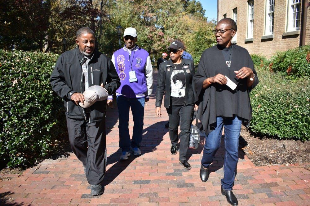 Black Alumni protest Silent Sam at Homecoming