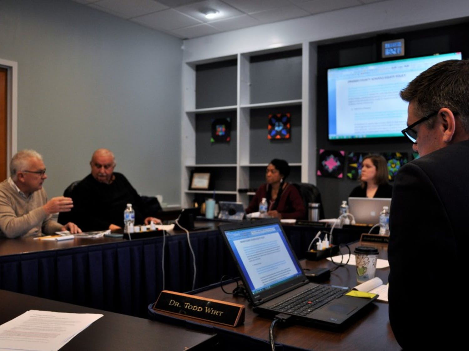 The Orange County Board of Education discusses Board Policy 4125 regarding school assignments and transfers at a meeting on Wednesday, Jan. 16, 2019. The policy was presented for a first reading approval with a second reading waiver on Tuesday, Jan. 14, 2019.