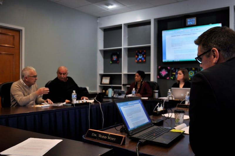 Dr. Todd Wirt, Superintendent of Orange County Schools, sits in on a Board of Education Policy Committee meeting at the Orange County Board of Education on Wednesday, Jan. 16, 2019. Board Policy 4125 regarding school assignments and transfers was presented for a first reading approval with a second reading waiver on Tuesday, Jan. 14, 2019.