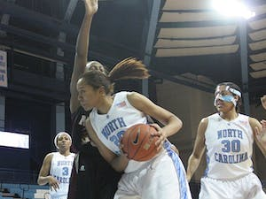 Sophomore Chay Shegog attempts a shot in the second half of UNC's game against N.C. Central. DTH/Rachel Will