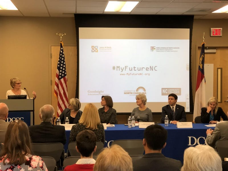 From left to right: Mary Rittling, president of the Davidson County Community College; UNC-system President Margaret Spellings; Jennifer Haygood, acting president of the N.C. Community College System; Ann Goodnight of the Goodnight Education Foundation; N.C. Superintendent Mark Johnson; MC Belk Pilon, chairperson of the John M. Belk Endowment. Photo courtesy of Kristy Teskey, executive director of My Future NC.