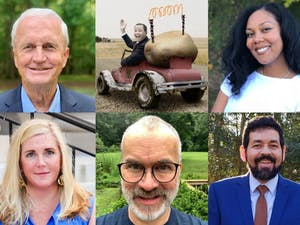 (Clockwise from the top left) George Griffin, Ryan Jackson, Riza Jenkins, Tim Sookram, Mike Sharp and Meredith Pruitt are running for the three open seats on the Chapel Hill-Carrboro City School Board of Education. Photos courtesy of Griffin, Jackson, Jenkins, Sookram, Sharp and Pruitt.