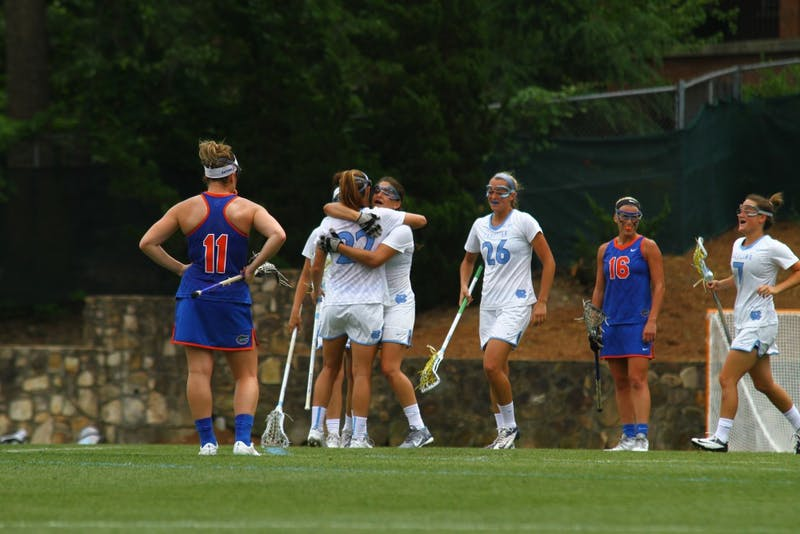 Several Tar Heels celebrate a second half goal against Florida.