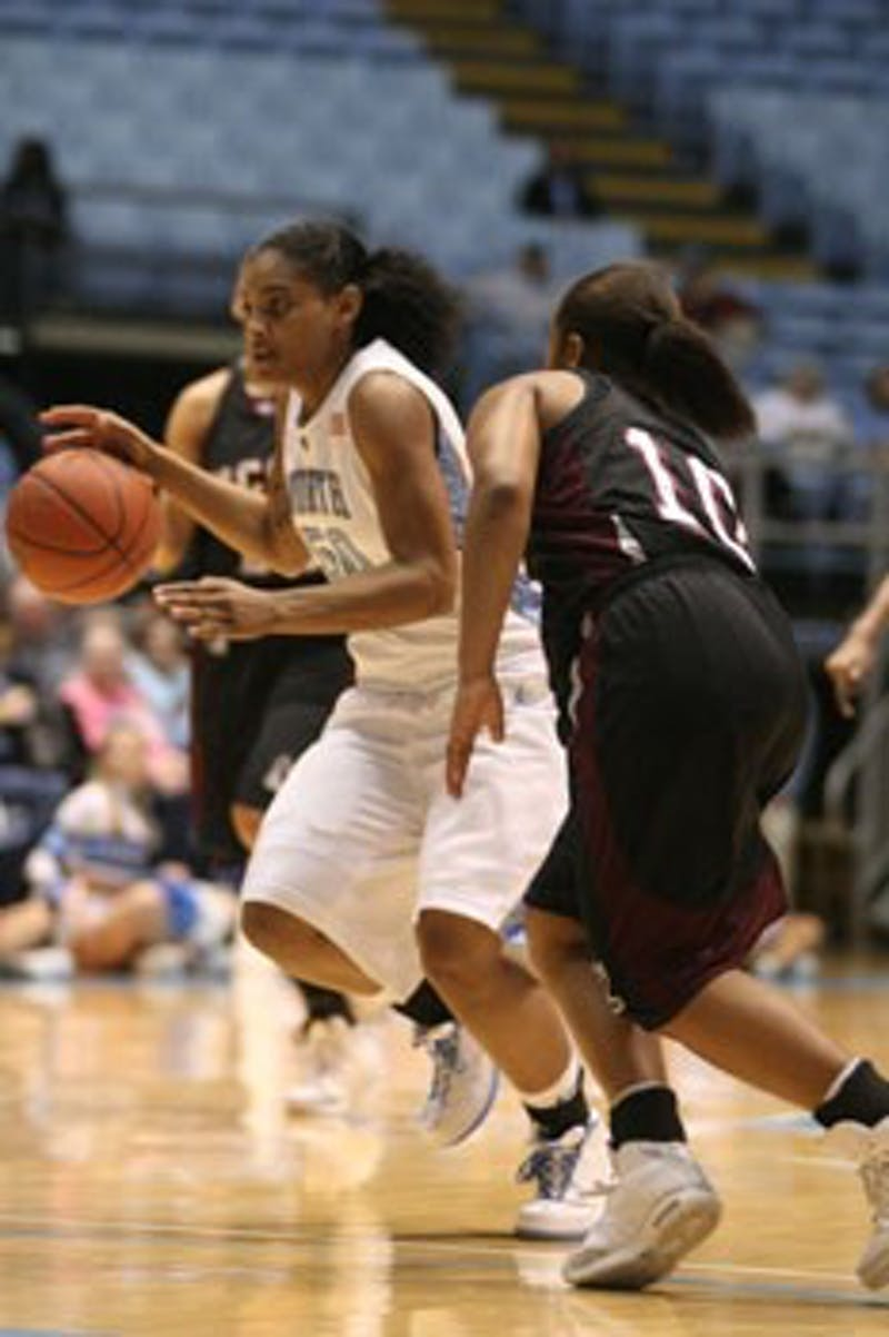 Italee Lucas hit five 3-pointers against N.C. Central on Sunday in UNC?s last nonconference match-up. All 14 Tar Heels played at least nine minutes.