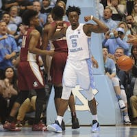 First-year guard Nassir Little (5) celebrates during Saturday's game against Florida State. UNC beat FSU in the Smith Center on Saturday, Feb. 23, 2019.