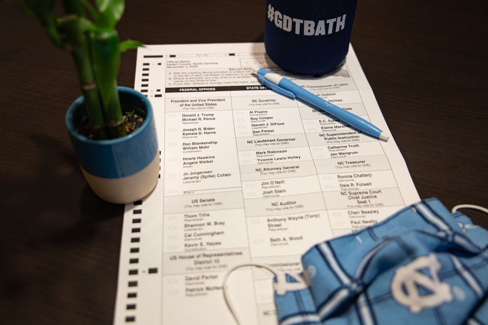 DTH Photo Illustration. UNC-CH students ready themselves to make a difference during this 2020 election.